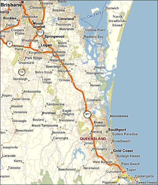 gold coast map. Brisbane to Gold Coast Map